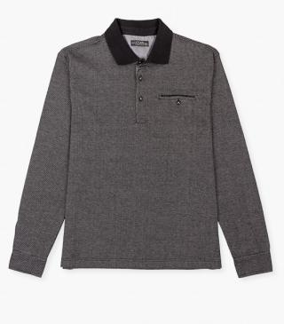 Long sleeve polo shirt with button cuffs.