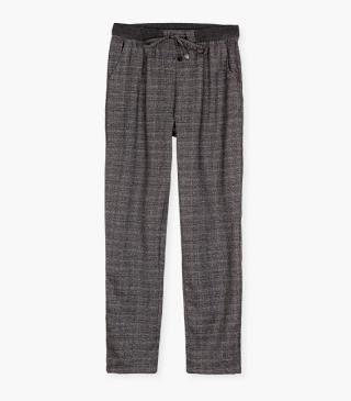 Grey checked trousers.