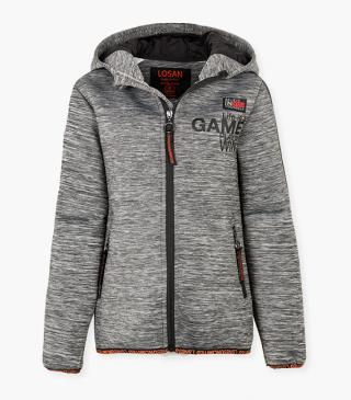Fleece jacket with graphic print front.