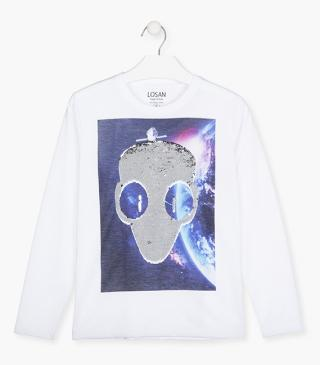Cotton t-shirt with alien design.