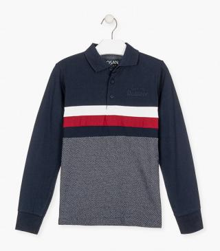 Jersey polo shirt in blue.