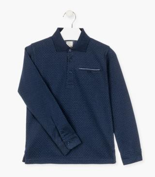 Dot polo shirt with long sleeves.