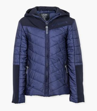 Fabric mix quilted jacket.