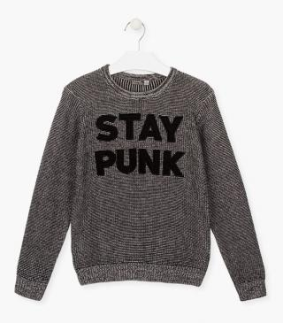 Knit jumper with graphic front.