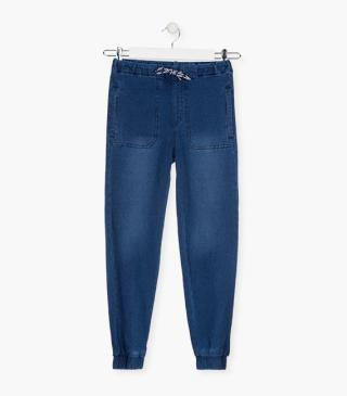 Mock-denim trousers.
