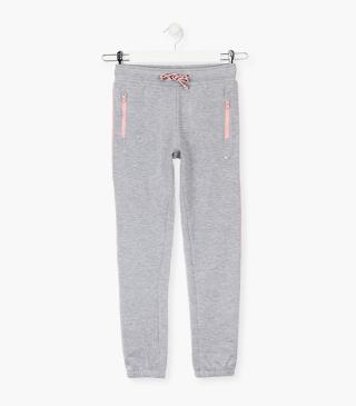 Grey plush trousers.