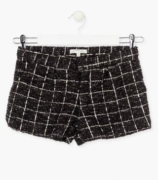 Black check shorts.