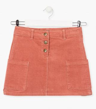 Corduroy skirt with patch pockets.