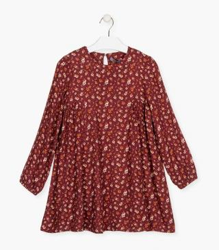 Floral motif long sleeve dress.