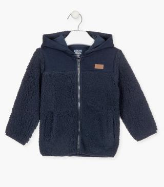 Fabric mix jacket in navy.