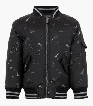 Print bomber jacket with sleeve pocket.