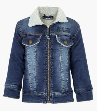 Mock-plush denim jacket.