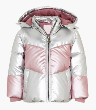 Silver quilted jacket with pink inserts.