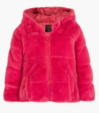 Fluffy coral jacket.