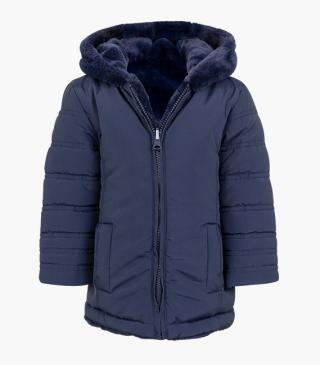 Reversible navy jacket with hood.