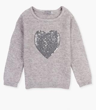 Sequined heart front jumper.