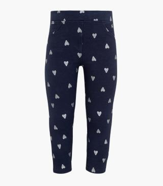 Leggings with glitter hearts printed all over.