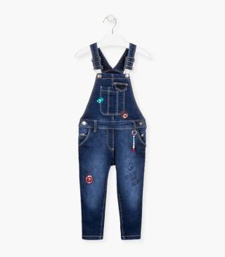 Sequin patch and print dungaree.