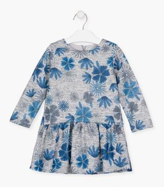 Dress with all-over floral print in a blue colour palette.