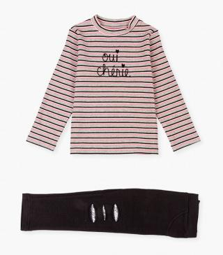 Embroidered graphic t-shirt & leggings set.
