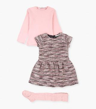 Tights, t-shirt & short sleeve dress set.
