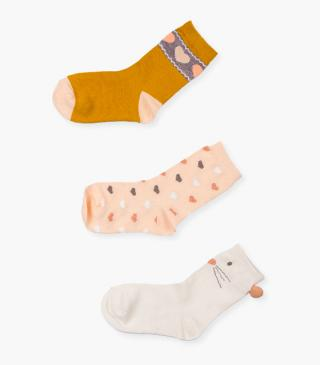 Jacquard and print socks 3-pack.
