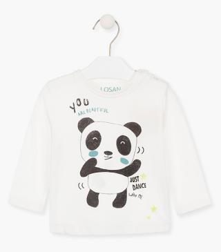 T-shirt with printed bear on the front and back.