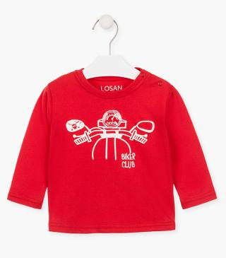 Printed motorbike t-shirt with long sleeves.