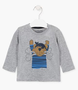 Puppy design t-shirt with long sleeves.