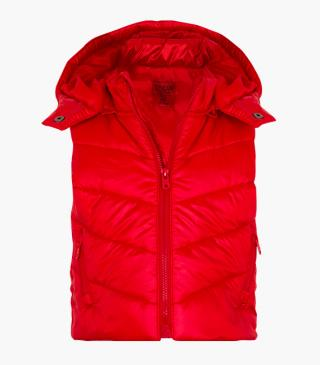 Quilted vest with a detachable hood.