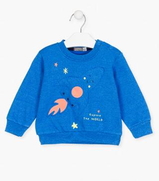 Rocket appliqué sweatshirt.