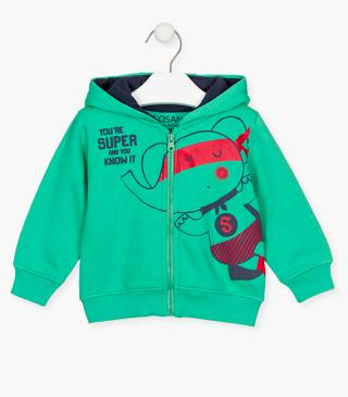Elephant superhero print jacket.