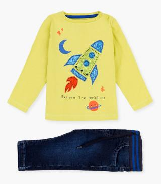 Rocket appliqué t-shirt & trousers set.