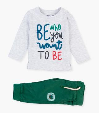 Ecru t-shirt & trousers set.