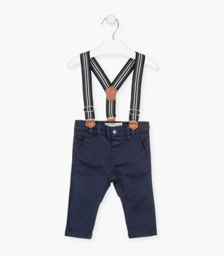 Trousers with striped stretch braces.