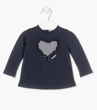 Heart t-shirt with long sleeves.