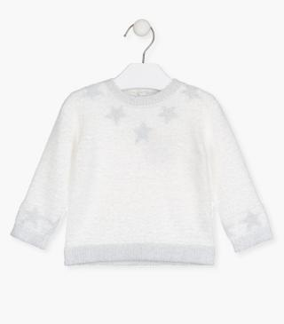Fluffy ecru knit jumper.
