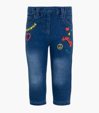 Embroidered plush jeggings.