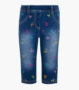 Plush jeggings with colourful embroidery.