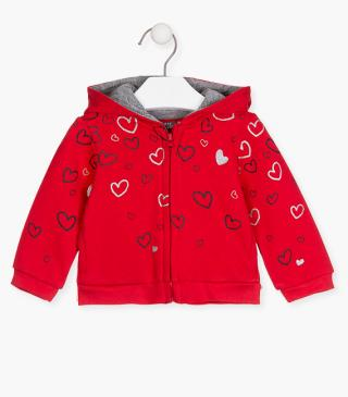 Heart print plush jacket.
