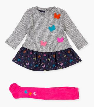 Butterfly appliqué dress & tights set.