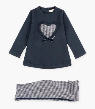 Heart design long-sleeved t-shirt & trousers set.