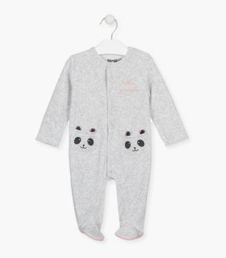 Shearing sleepsuit with panda pockets.