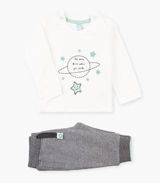 Space-themed print sweatshirt & trousers set.