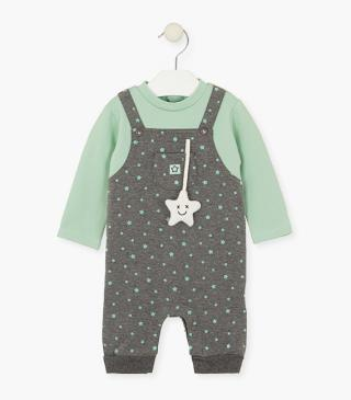 Organic cotton overall with stars.