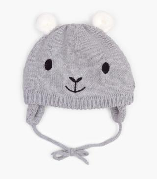 Knit beanie with ears.