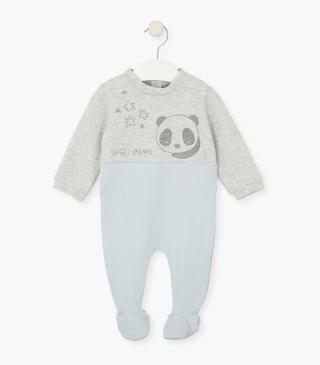 Two-tone sleepsuit with printed panda.