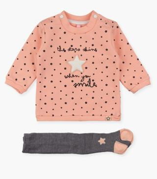 Star motif plush dress & tights set.