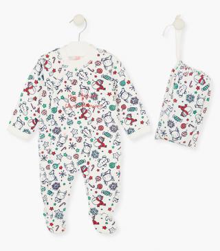 Christmas motif sleepsuit in a pouch.