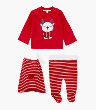 Christmas-themed sweatshirt & trousers set.